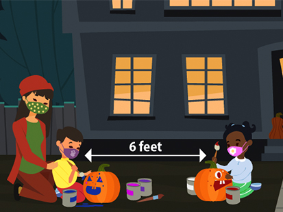 Trick or treaters socially distant
