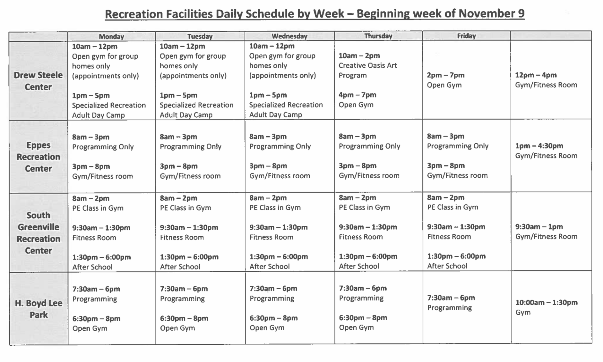 Rec and Parks temporary schedule