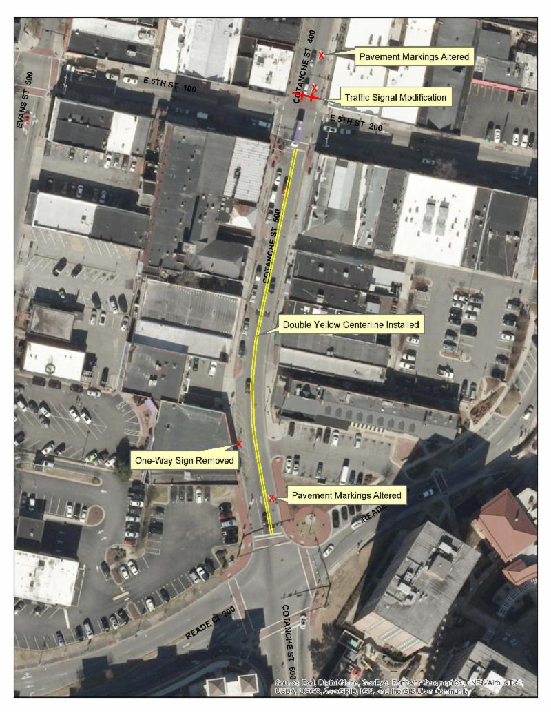Portion of Cotanche to be Converted to Two-Way Traffic