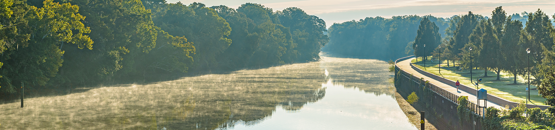 mist rising off Tar River near Town Common